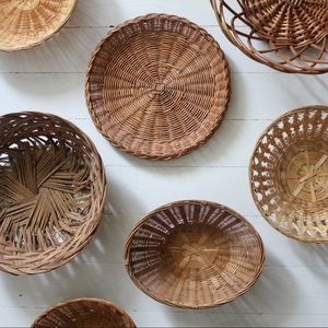 9 Boho vintage wicker rattan basket wall collage